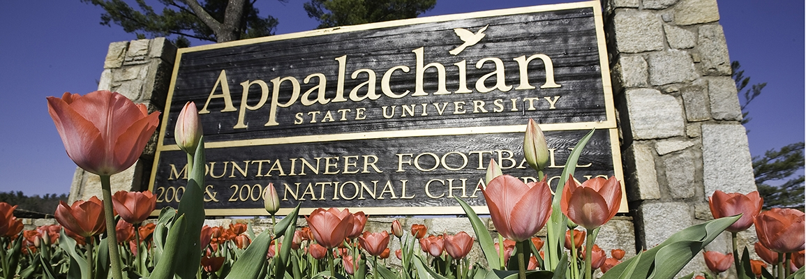 Appalachian State University sign with tulips